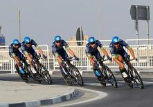 Cyclists from Orica-Bike Exchange compete in Men's Team Time Trial in the UCI Road World Championships 2016, in Doha, Qatar October 9, 2016. REUTERS/Naseem Zeitoon