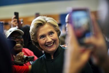 U.S. Democratic presidential nominee Hillary Clinton poses for a picture...