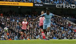 Britain Soccer Football - Manchester City v Southampton - Premier League - Etihad Stadium - 23/10/16 Manchester City's Kelechi Iheanacho scores their first goal  Action Images via Reuters / Craig Brough Livepic EDITORIAL USE ONLY.