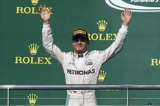 Oct 23, 2016; Austin, TX, USA; Mercedes driver Nico Rosberg (6) of Germany waves to the crowd after he comes in second place during the United States Grand Prix at the Circuit of the Americas. Mandatory Credit: Jerome Miron-USA TODAY Sports