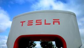 A Tesla electric car charging point is seen at the Eurotunnel terminal in Calais, France, October 12, 2016. REUTERS/Phil Noble