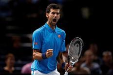 Tennis - Paris Masters tennis tournament third round - Novak Djokovic of Serbia v Grigor Dimitrov of Bulgaria - Paris, France - 3/11/2016 - Novak Djokovic of Serbia reacts. REUTERS/Gonzalo Fuentes