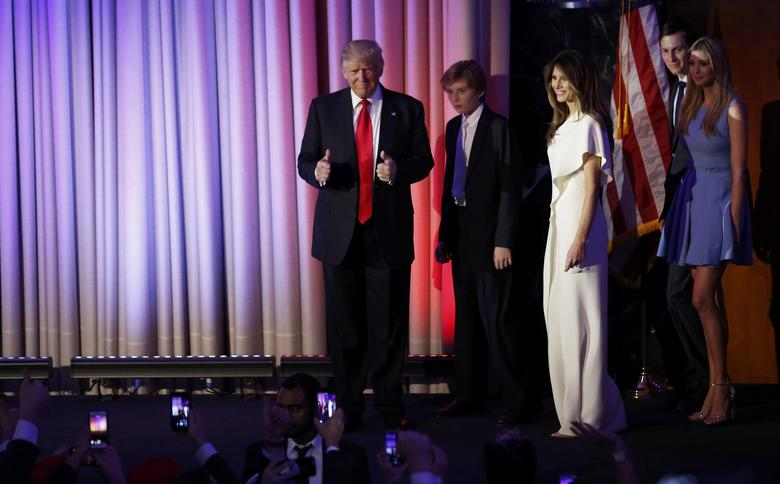 U.S. President-elect Donald Trump is followed by members of his family as he arrives to address supporters at his election night rally in Manhattan, New York, U.S., November 9, 2016.     REUTERS/Jonathan Ernst
