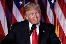 Presidente eleito dos Estados Unidos, Donald Trump, fala em evento de campanha em Nova York, EUA 09/11/2016 REUTERS/Mike Segar