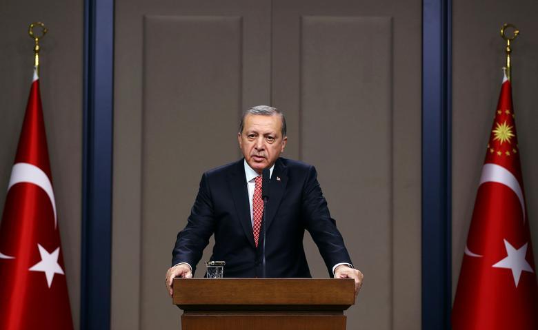 Turkish President Tayyip Erdogan speaks during a news conference in Ankara, Turkey, November 16, 2016. Kayhan Ozer/Presidential Palace/Handout via REUTERS