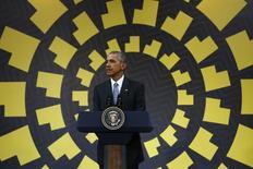 El presidente de Estados Unidos, Barack Obama, ofrece una conferencia de prensa al final de la cumbre del APEC en Lima, Perú, Noviembre 20, 2016. El presidente de Estados Unidos, Barack Obama, dijo que no avanzar en el Acuerdo Transpacífico de Cooperación Económica (TPP) minaría la posición de su país en la región Asia-Pacífico. REUTERS/Mariana Bazo