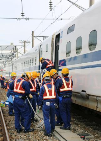 東海道新幹線で災害訓練