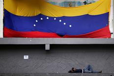 Homem deitado embaixo de bandeira da Venezuela em Caracas.      30/11/2016          REUTERS/Ueslei Marcelino