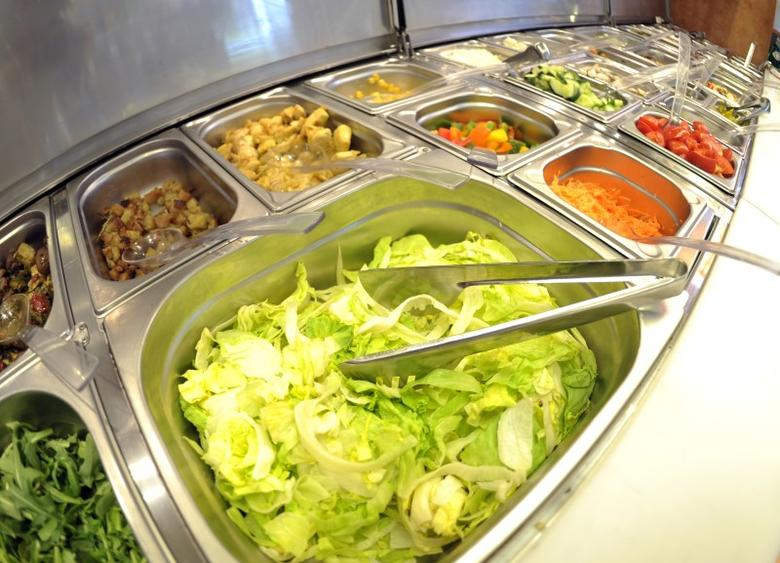 Pre-cut vegetables of a self service salad bar are displayed for sale in a shop in the northern German town of Hamburg May 26, 2011.   REUTERS/Morris Mac Matzen