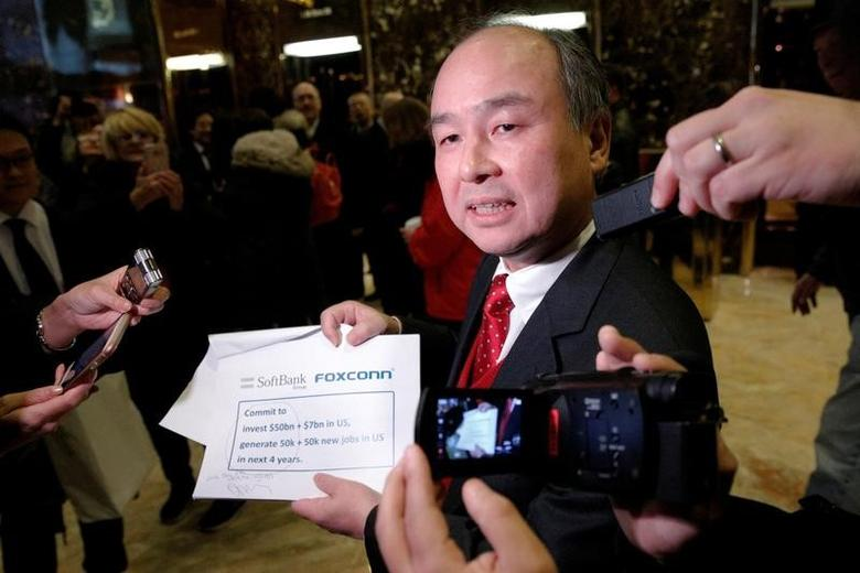 Softbank CEO Masayoshi Son speaks to the press after meeting with U.S. President-elect Donald Trump at Trump Tower in Manhattan, New York City, U.S., December 6, 2016. REUTERS/Brendan McDermid     TPX IMAGES OF THE DAY