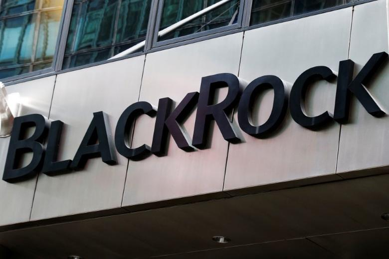 The BlackRock logo is seen outside of its offices in New York City, U.S., October 17, 2016.  REUTERS/Brendan McDermid