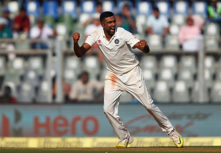 Cricket - India v England - Fourth Test cricket match - Wankhede Stadium, Mumbai, India - 8/12/16. India's Ravichandran Ashwin celebrates the wicket of England's Jonny Bairstow. REUTERS/Danish Siddiqui