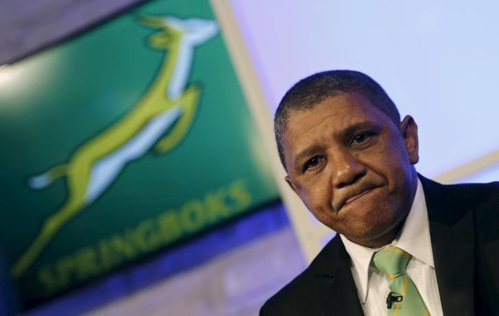 Allister Coetzee looks on after he was unveiled as the South Africa Springboks' new rugby coach in Randburg, outside Johannesburg, April 12, 2016. REUTERS/Siphiwe Sibeko