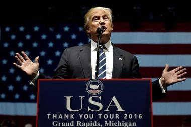 U.S. President-elect Donald Trump speaks at a