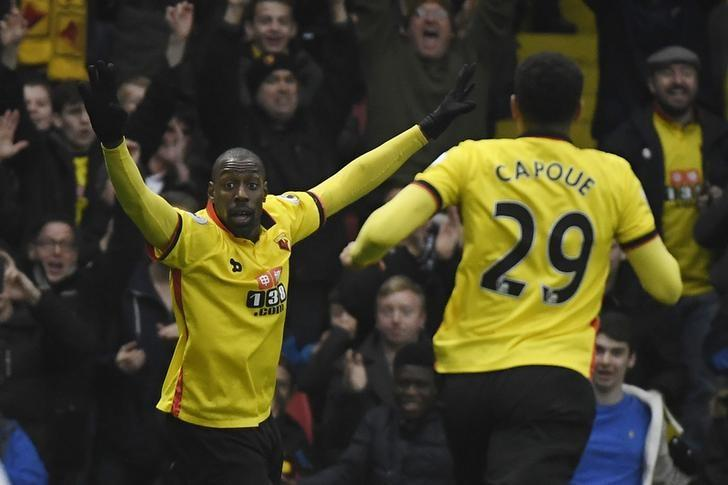 Football Soccer Britain - Watford v Everton - Premier League - Vicarage Road - 10/12/16 Watford's Stefano Okaka celebrates scoring their third goal  Reuters / Toby Melville Livepic
