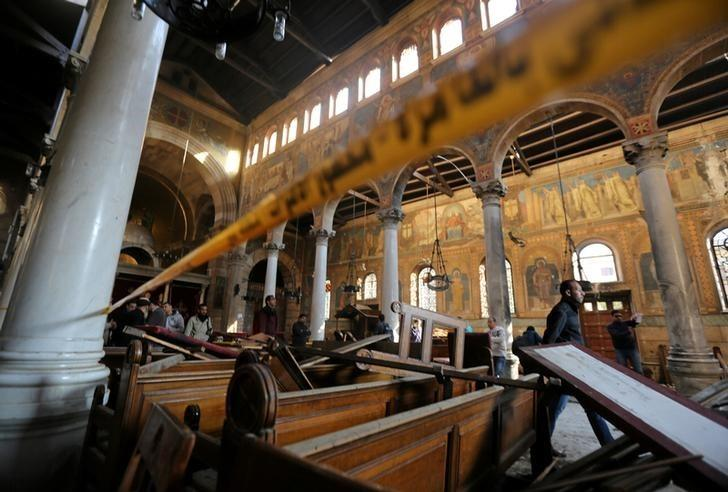 Damage from the explosion inside Cairo's Coptic Orthodox Cathedral is seen inside the cathedral in Cairo, Egypt December 11, 2016. REUTERS/Mohamed Abd El Ghany