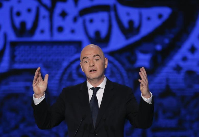 Football Soccer -  Confederations Cup 2017 official draw - Kazan, Russia - 26/11/16.  FIFA president Gianni Infantino delivers a speech.  REUTERS/Maxim Shemetov