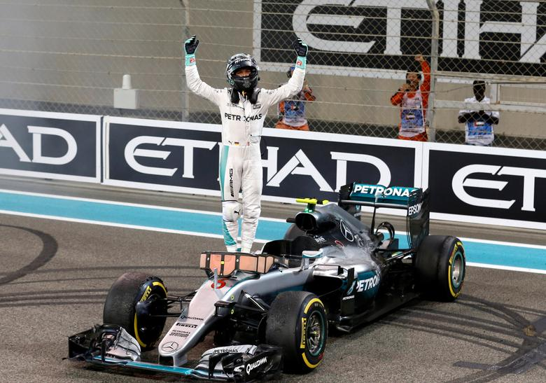Mercedes' Formula One driver Nico Rosberg of Germany celebrates after winning the Formula One world championship. Abu Dhabi Grand Prix - Yas Marina Circuit, Abu Dhabi, United Arab Emirates - 27/11/2016. REUTERS/Ahmed Jadallah
