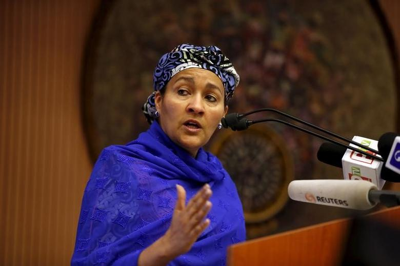Minister of Environment Amina Mohammed speaks at the opening session of a Public Lecture on Nigeria and the commonwealth of Nations in Abuja, Nigeria February 18, 2016. REUTERS/Afolabi Sotunde