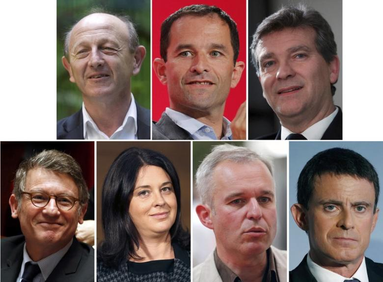 A combination picture shows portraits of French politicians, top row, L-R, Jean-Luc Bennahmias, Benoit Hamon, Arnaud Montebourg, bottom row, L-R, Vincent Peillon, Sylvia Pinel, Francois de Rugy, and Manuel Valls after the announcement of the official list of candidates for the French Socialist presidential primary, in Paris France, December 17, 2016. REUTERS/Staff
