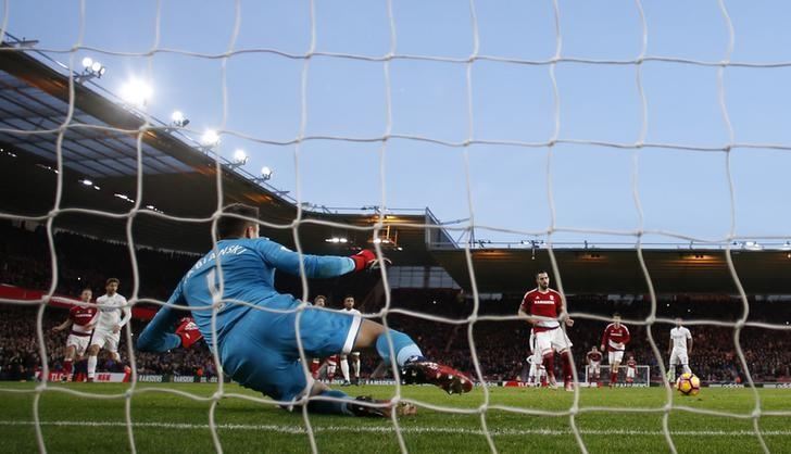 Britain Football Soccer - Middlesbrough v Swansea City - Premier League - The Riverside Stadium - 17/12/16 Middlesbrough's Alvaro Negredo scores their second goal from a penalty Action Images via Reuters / Jason Cairnduff Livepic