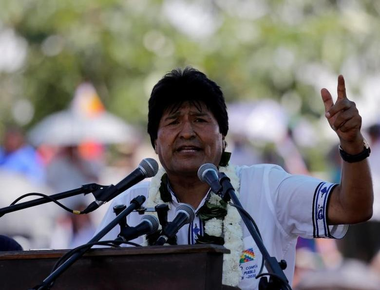 Bolivia's President Evo Morales speaks during a Democratic and Cultural revolution celebration in Ivirgarzama in the Chapare region, Bolivia December 18, 2016 .REUTERS/David Mercado