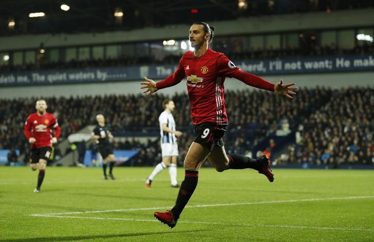 Britain Football Soccer - West Bromwich Albion v Manchester United - Premier League - The Hawthorns - 17/12/16 Manchester United's Zlatan Ibrahimovic celebrates scoring their first goal  Action Images via Reuters / John Sibley Livepic