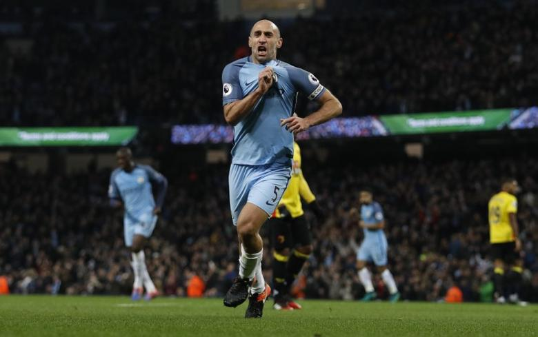 Britain Football Soccer - Manchester City v Watford - Premier League - Etihad Stadium - 14/12/16 Manchester City's Pablo Zabaleta celebrates scoring their first goal Reuters / Phil Noble/ Livepic/ Files