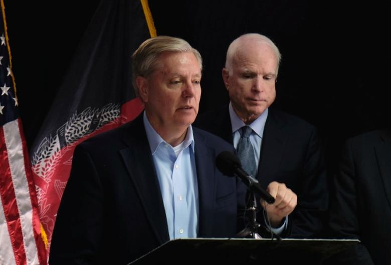 U.S. Senator Lindsey Graham speaks to reporters in Kabul, Afghanistan July 4, 2016. REUTERS/Josh Smith