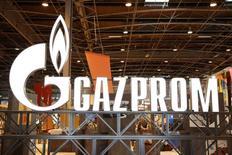 Логотип Газпрома на Всемирной газовой конференции в Париже. Газпром сообщил, что направил Еврокомиссии предложения об урегулировании длящегося уже пять лет дела о предполагаемом нарушении им европейских антимонопольных законов. REUTERS/Benoit Tessier