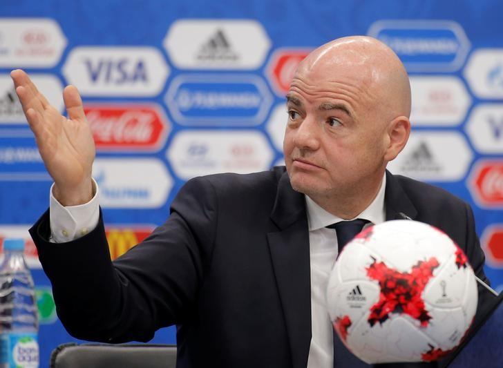 FIFA President Gianni Infantino gestures during a news conference prior to the Confederations Cup 2017 official draw in Kazan, Russia, November 26, 2016. REUTERS/Maxim Shemetov/Files