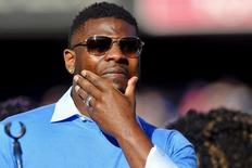 Nov 22, 2015; San Diego, CA, USA; Former San Diego Chargers running back Ladainian Tomlinson wipes away tears during his Charger Hall of Fame introduction during halftime of the game against the Kansas City Chiefs at Qualcomm Stadium. Mandatory Credit: Orlando Ramirez-USA TODAY Sports