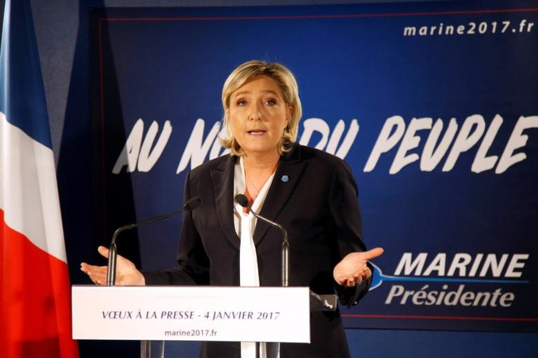 Marine Le Pen, French far-right National Front (FN) party president, member of European Parliament and candidate for French 2017 presidential election, speaks during a New Year wishes ceremony to the media in Paris, France, January 4, 2017. REUTERS/Charles Platiau