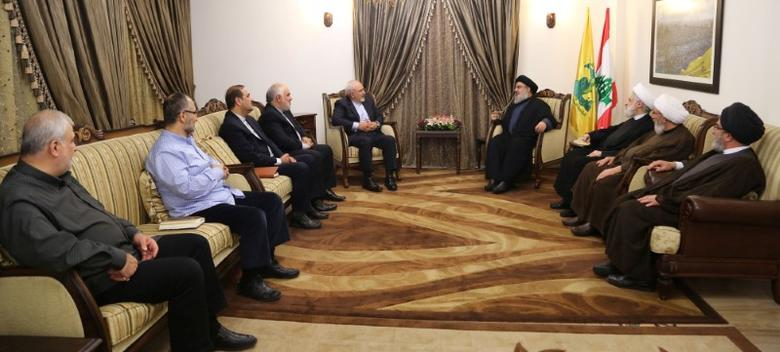 Lebanon's Hezbollah leader Sayyed Hassan Nasrallah  meets with Iran's Foreign Minister Mohammad Javad Zarif in this handout picture released by Hezbollah Media office, November 8, 2016. Hezbollah Media Office/Handout via REUTERS