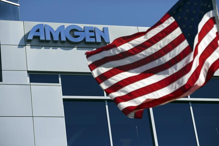 An Amgen sign is seen at the company's office in South San Francisco, California October 21, 2013. REUTERS/Robert Galbraith