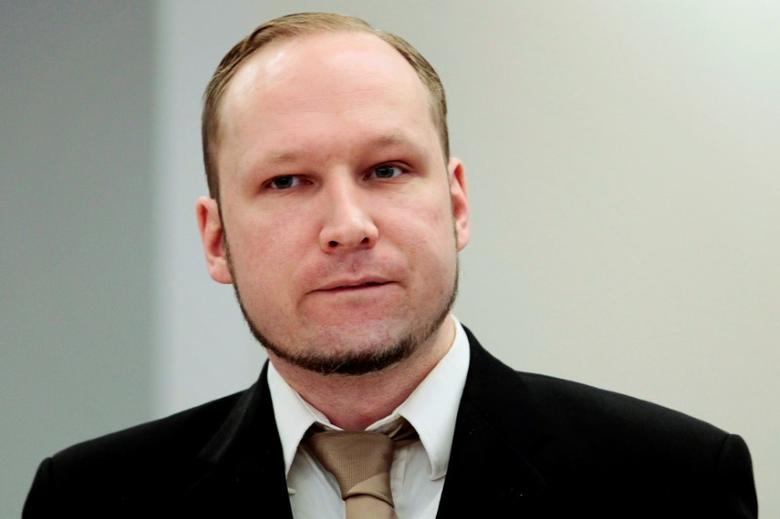 FILE PHOTO: Norwegian mass killer Anders Behring Breivik attends the second day of his terrorism and murder trial in Oslo, Norway, April 17, 2012. Pool/File Photo