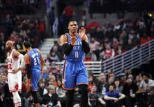 Jan 9, 2017; Chicago, IL, USA; Oklahoma City Thunder guard Russell Westbrook (0) celebrates during the first quarter of the game against the Chicago Bulls at United Center. Mandatory Credit: Caylor Arnold-USA TODAY Sports