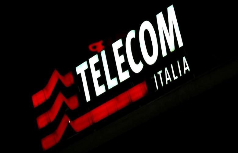The Telecom Italia logo is seen at the headquaters downtown Milan, Italy, March 10, 2016.  REUTERS/Stefano Rellandini /File Photo