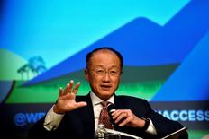 Presidente do Banco Mundial, Jim Yong Kim, durante o encontro anual do FMI e do Banco Mundial, em Washington 7/10/2016. REUTERS/James Lawler Duggan