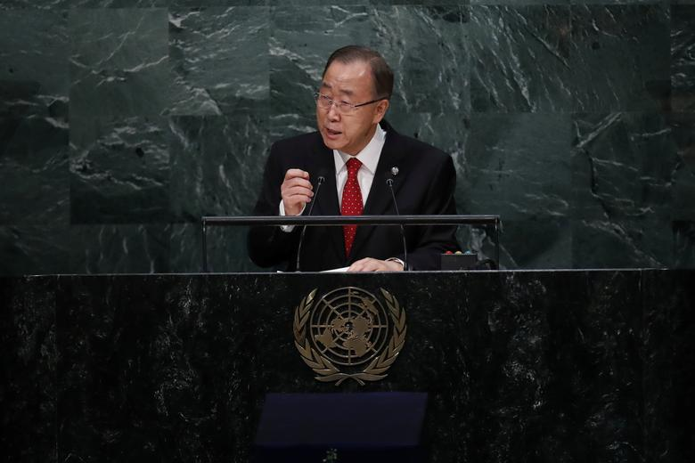 United Nations Secretary General Ban Ki-moon speaks before the swearing-in of Secretary-General-designate Mr. Antonio Guterres of Portugal at UN headquarters in New York, U.S., December 12, 2016. REUTERS/Lucas Jackson