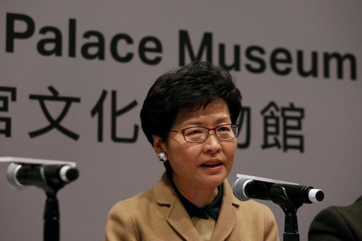 Hong Kong Chief Secretary Carrie Lam speaks during a news conference on a branch of Beijing's Palace Museum to be built in Hong Kong, China, January 10, 2017.      REUTERS/Bobby Yip