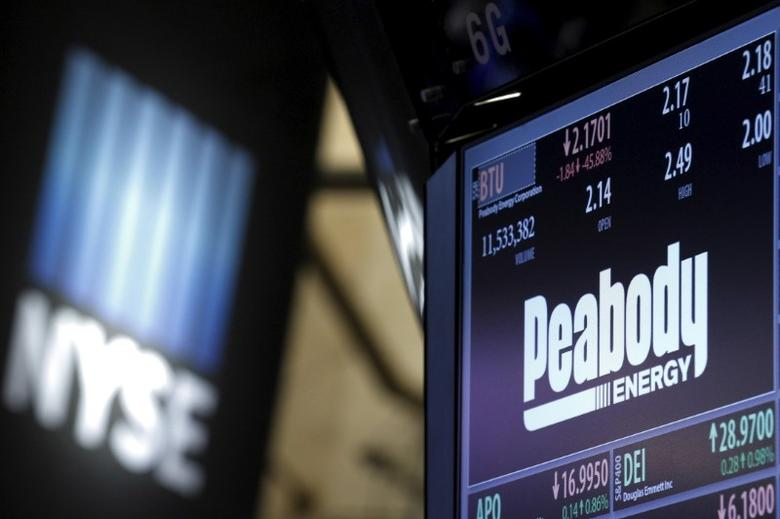 The ticker and stock information for Peabody Energy is displayed at the post where the stock is traded on the floor of the New York Stock Exchange (NYSE) March 16, 2016. REUTERS/Brendan McDermid