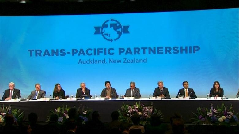 FILE PHOTO: Trade ministers and officials from the 12 Trans-Pacific Partnership (TPP) member nations are seen at the signing ceremony in Auckland, New Zealand in this still frame taken from video on February 4, 2016. REUTERS/New Zealand Pool/via Reuters TV