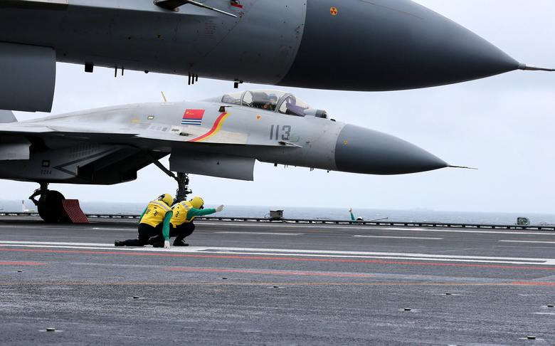 J-15 fighters from China's Liaoning aircraft carrier conduct a drill in an area of South China Sea, January 2, 2017.  REUTERS/Mo Xiaoliang