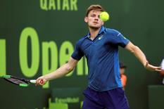 Tennis - Qatar Open - Men's Singles - David Goffin of Belgium v Fernando Verdasco of Spain - Doha, Qatar - 4/1/2017 - Goffin in action. REUTERS/Naseem Zeitoon