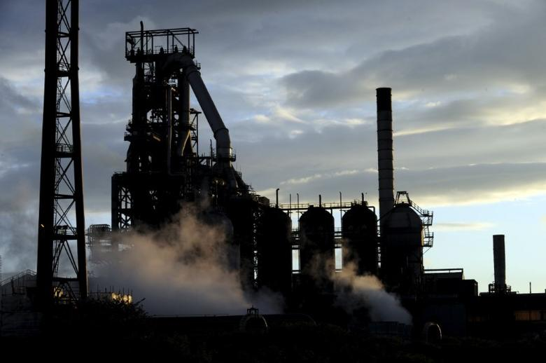 One of the blast furnaces of the Tata Steel plant is seen at sunset in Port Talbot, South Wales in this May 31, 2013 file photo. REUTERS/Rebecca Naden/File Photo