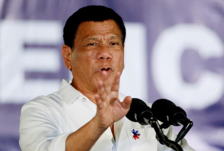 File photo - President Rodrigo Duterte speaks in front of housewives and mothers, that participate in the anti-illegal drugs campaign of the provincial government and Duterte