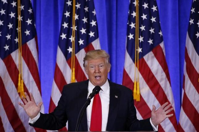 U.S. President-elect Donald Trump speaks during a news conference in the lobby of Trump Tower <a href=