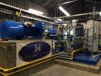 An interior-discharge part of Compressed Air Energy Storage (CAES) technology equipment, which uses off-peak electricity to compress air it stores underwater in balloon-type accumulators, is shown in this November 2015 photo in Toronto, Canada, released on January 19, 2017.  Courtesy Hydrostor/Handout via REUTERS