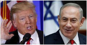 U.S. President-elect Donald Trump speaks during a news conference in the lobby of Trump Tower in Manhattan, New York City, U.S., January 11, 2017 and Israeli Prime Minister Benjamin Netanyahu attends the weekly cabinet meeting in Jerusalem January 22, 2017 in a combination of file photos. REUTERS/Lucas Jackson/Ronen Zvulun/File Photo